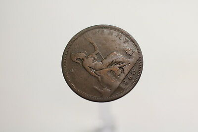 Uk Gb Penny 1860 Victoria Repunched 6 A97 #rz3940