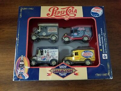 Pepsi-Cola Die Cast Metal Set of 4 Trucks Custom Replica Collection-- NIB