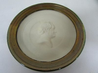 Antique Brass Framed Wall Plaque Wax Relief Cast Plaster Head Of Goethe