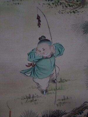 Old Antique Japanese Silk Painting Artist Signed Stamped Children Playing