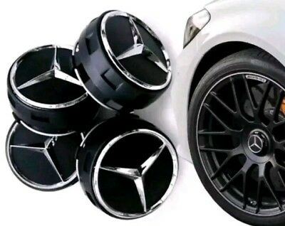 Mercedes Wheel Hub Amg Alloy Centre Caps - Black 75Mm A B C E S Ml Class