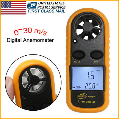 LCD Air Wind Speed Digital Anemometer Meter Tester Temperature Gauge Thermometer