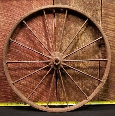Vintage Farm Implement Steel Wheel Wagon Wheel Spoke Wheel Farm Decor 23""