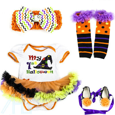 Halloween Baby Toddler Girls Fancy Dress Tutu Romper Party Costume Outfits 0-12M
