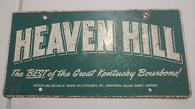 RARE Old Vintage Heaven Hill Bourbon Whiskey Advertising Car License Plate Sign