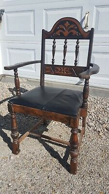 Antique Mid Century Vintage Gothic Wood Captain's Dining Accent Side Arm Chair