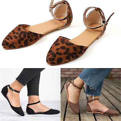 AU Womens Summer Ankle Strap Flat Sandals Pointed Toe Ballet Casual Shoes Size