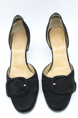 caca7a234108 Hermes Black Suede D Orsay Block Heel Pumps Size 8.5 - Made in Italy