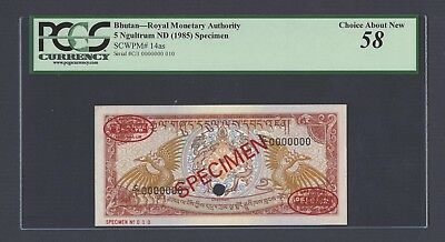 Bhutan 5 Ngultrum ND(1985) P14as Specimen TDLR About Uncirculated