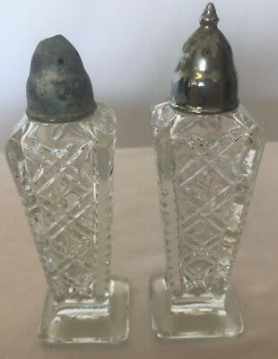 Antique Glass Salt and Pepper Shakers Clear with Design