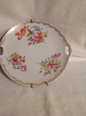 Antique Vintage Germany Double Handled Cake Plate Hand Painted