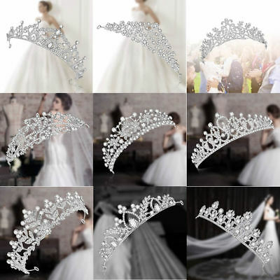 Bride Crown Wedding Rhinestone Tiara Floral Hair Ornament Princess Headband New