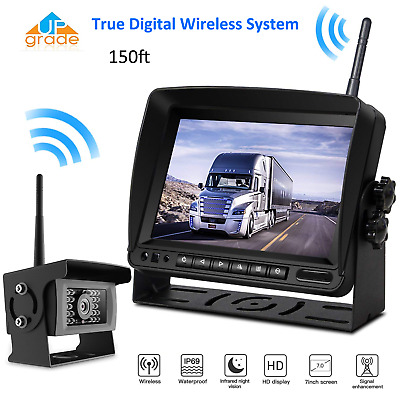 "7""Monitor Digital Wireless Rear View Backup Camera Night Vision For Truck Bus RV"