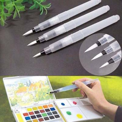 3Pcs Pilot Water Brush Ink Pen Paint Calligraphy Drawing Assorted Tip Watercolor