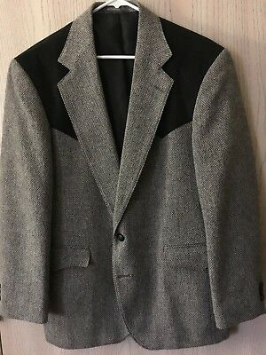 Taos Country Western Collection Men's Tweed Western Blazer Jacket Brown Size 40