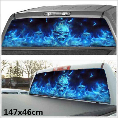 Car Truck SUV Flaming Skull Rear Window Tint Graphic Decal Wrap Back (147x46cm)