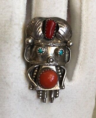 Navajo Old Pawn Sterling Silver Coral Turquoise Figural Kachina Ring Figural 7.5