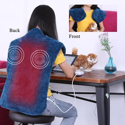Relief Wrap Extra-Long Massaging Electric Heated Blanket Muscles Neck Pain D1G8