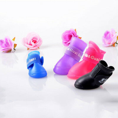 4 Pcs WaterProof Pet Rain Shoes Boots Socks Anti-slip Rubber Boot for Small Dog