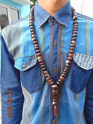 150 Gr 66 Donut Beads Tasbih Misbaha Rosary Necklace Indonesian dark Red Amber