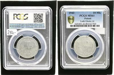 10 Mark 1943 Poland Getto Litzmannstadt for Prfr Small Stains PCGS MS61