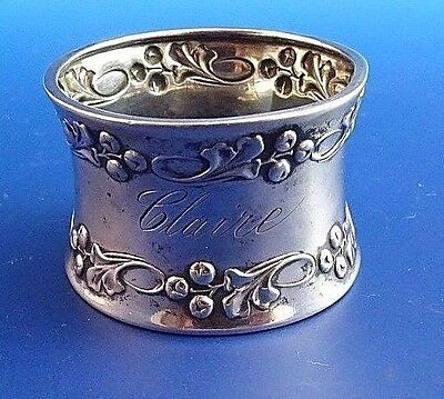 800 Silver  Napkin Ring with Holly & Berry Design (#972)