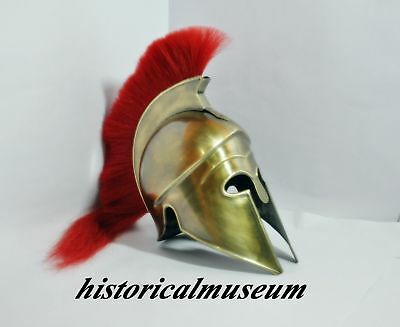 Greek Corinthian Helmet with Red Plume, Armor Sca Medieval Knight Spartan HM56