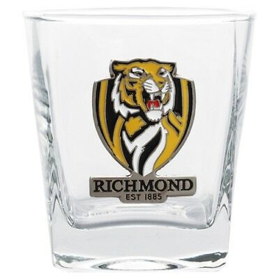 Richmond Tigers Official AFL 2 Spirit Glasses Metal Badge Gift Boxed