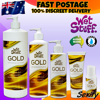 Wet Stuff GOLD Sex Personal Lubricant Pump Bottle Tube Sex Water Based Lube NEW