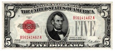 Series 1928 $5 Red Seal LEGAL TENDER UNITED STATES NOTE