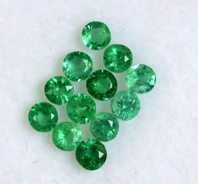 0.91 Cts Natural Emerald Round Cut 2.25 mm Lot 16 Pcs Untreated Loose Gemstones