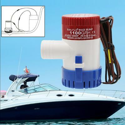 12V Submersible 1100 GPH Marine Boat Bilge Pump With White Float Switch Fine