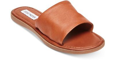 fc9ac3320321 Steve Madden Women s Camilla Banded Slide Sandals Size 6 Cognac Leather