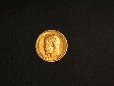 Gold Coin Imperial Russian Nicholas Ii 5 Ruble,  Russia 5 Rouble