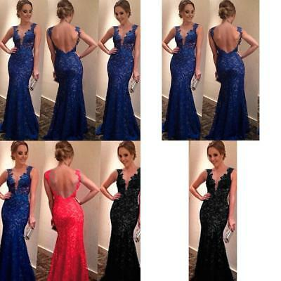 UK 6-16 Women Long Mermaid Dress Evening Party Prom Bridesmaid Ball Gown Dress