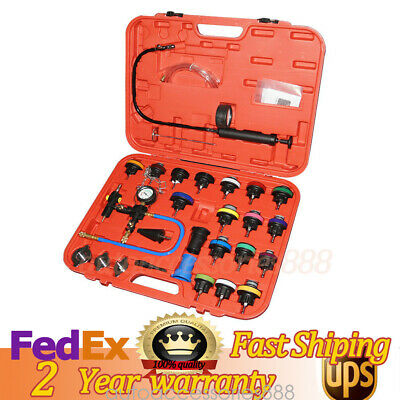 28pcs Radiator Pressure Tester Vacuum-Type Cooling System Refill Tool Set W/Case