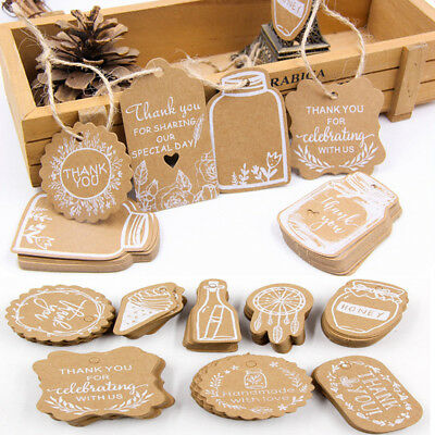 50Pcs Multi-style Brown Kraft Paper Hang Tag Wedding Party Favor Label Gift Card