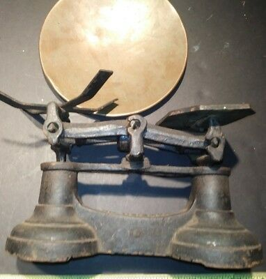 Antique cast iron balance scale 1800s Weigh-scale up 7 lb-brass old vtg