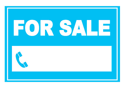 4 x   FOR SALE Sign Self Adhesive Vinyl Waterproof Stickers Green with space