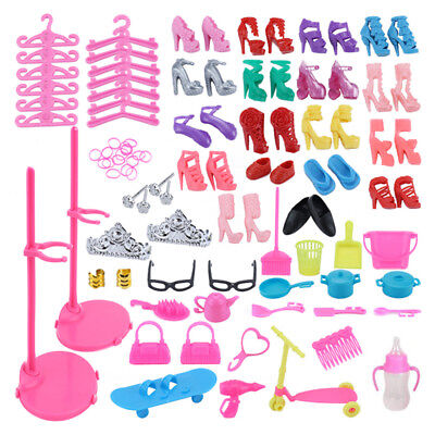 108 Pcs Doll Accessories Shoes Bag Hanger Comb Bracelet For Barbie Dolls UK