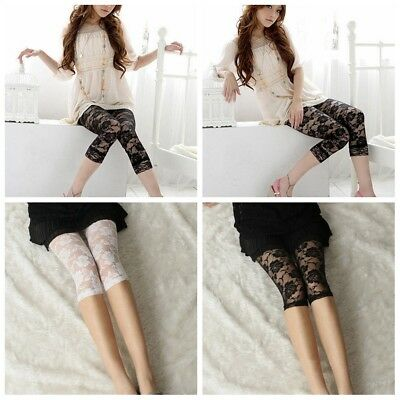 Ladies Short Cropped Stretchy Jeggings Trim Lace Bottom Womens Leggings Pant New