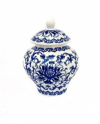 Ancient Chinese Style Blue and White Porcelain Helmet-shaped Temple Jar (Small