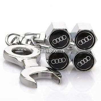 Audi Rings Black Car Wheel Tyre Valve Dust Caps with Spanner on a Keying Covers