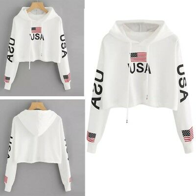 68bb36fd73 Women Casual Drop Shoulder American Flag Print Crop Hoodie Sweatshirt Top  Blouse