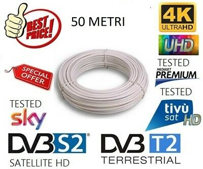 CAVO ANTENNA TV SATELLITARE TERRESTRE SKY MATASSA 50mt 5MM