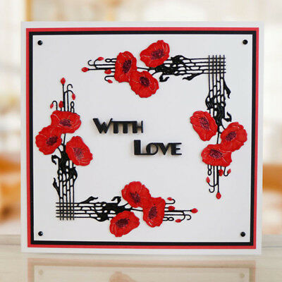 Flower Framed Gift Cards Metal Cutting Dies For Scrapbooking Craft Xmas Decor-AU