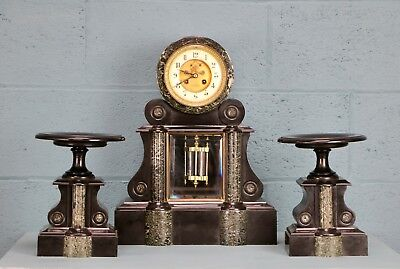 French Clock and Garniture, marble and slate  (CB007)
