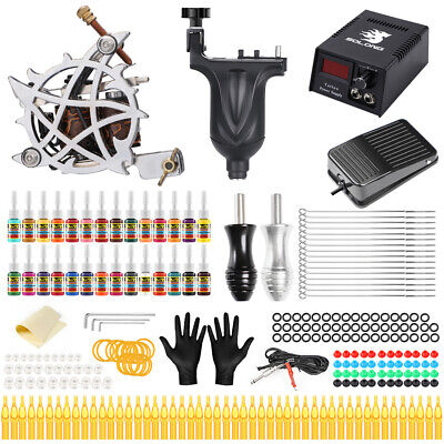 Complete Tattoo Kit Professional 2 Machine ROTARY Set GUN Colors Ink