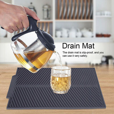 Silicone Dish Drainer Drip Tray Large Kitchen Sink Drying Rack Holder Tools LH
