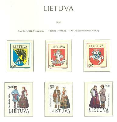 Lithuania F77 MNH 1992 6v Coat of Arms National Costumes